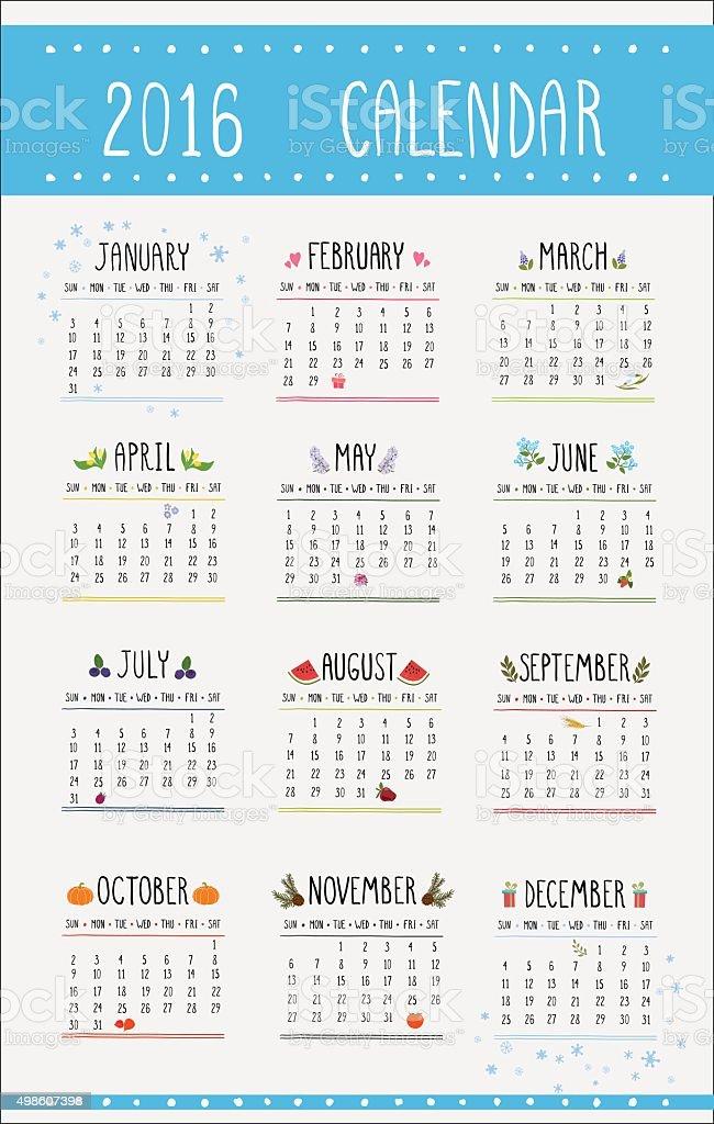 カレンダーの 12 ヶ月 2016イラストレーション 2015年のベクターアート