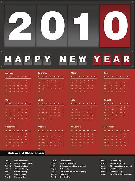 bildbanksillustrationer, clip art samt tecknat material och ikoner med calendar 2010 - 2010