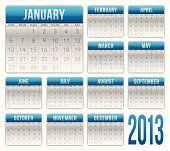 Detailed calendar planner for 2013. Elements grouped for easy editing. EPS 10 file. Transparency used on highlight elements.