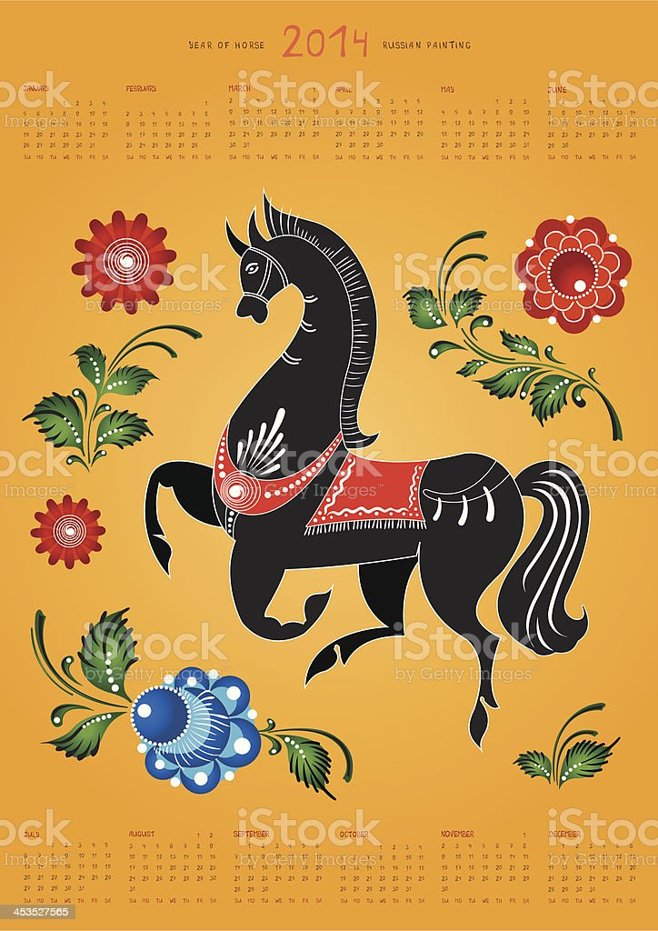 Calendar 2014, folk russian painting horse with flowers. royalty-free stock vector art