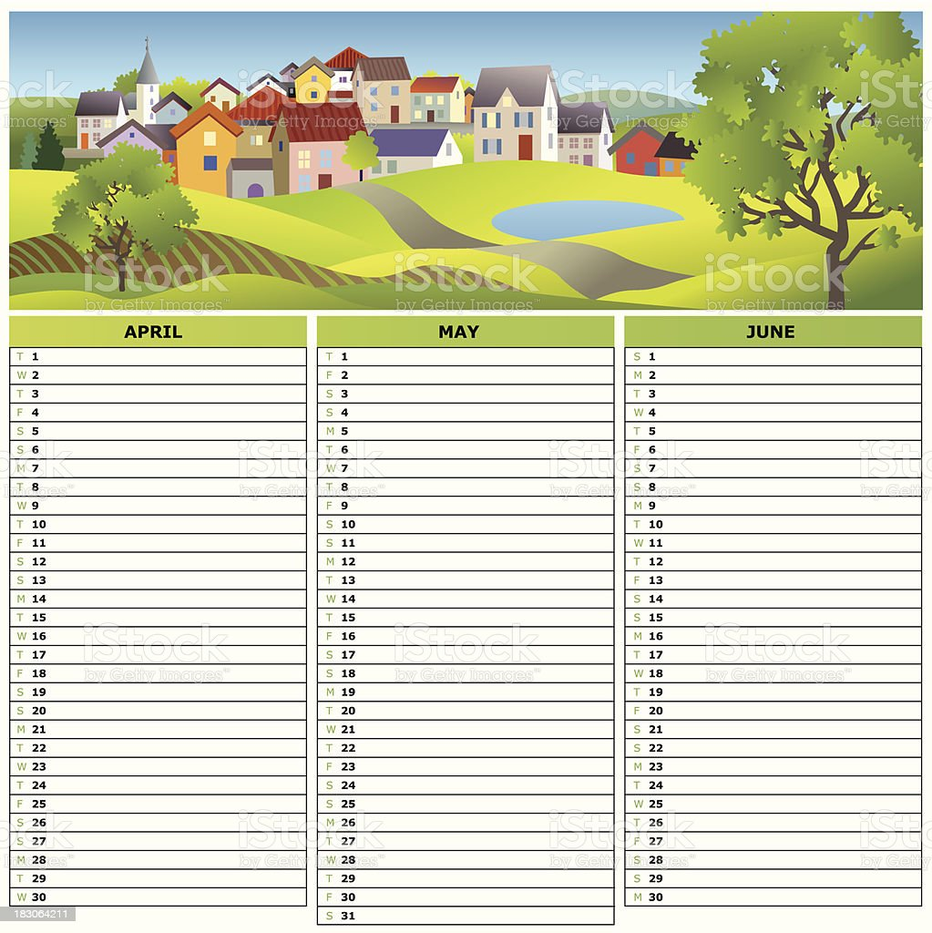 Calendar 2014 - Q2 royalty-free stock vector art