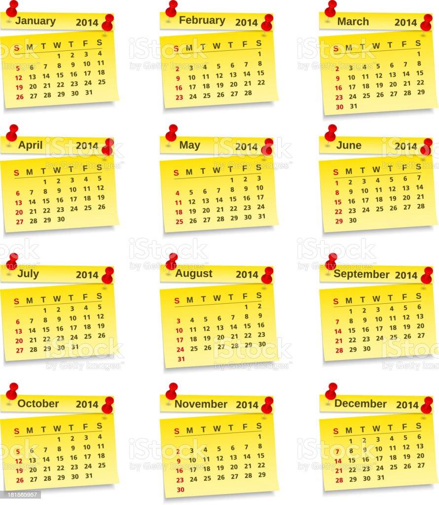 Calendar 2014 royalty-free stock vector art