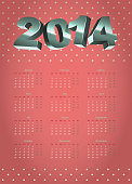 vintage calendar on colorful background with volume figures