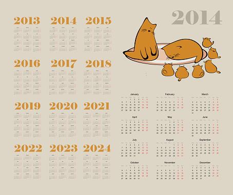 calendar 2014 with cat