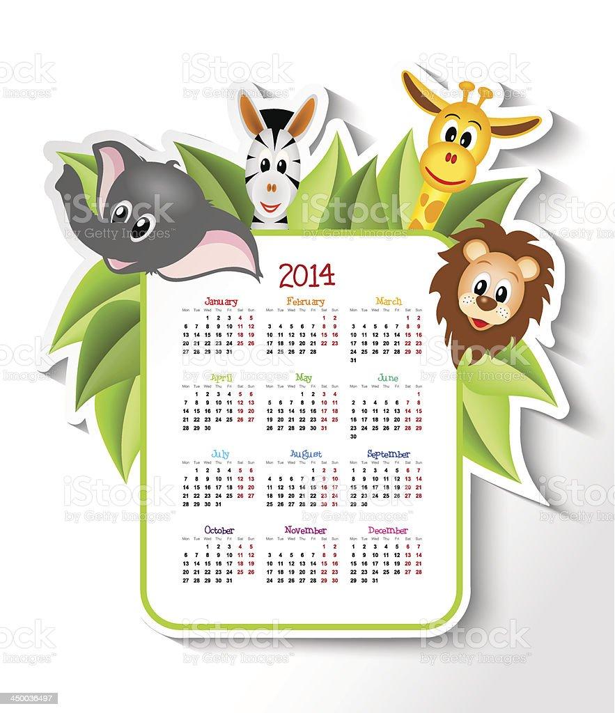 2014 年のカレンダーにサファリ動物 ベクターアートイラスト