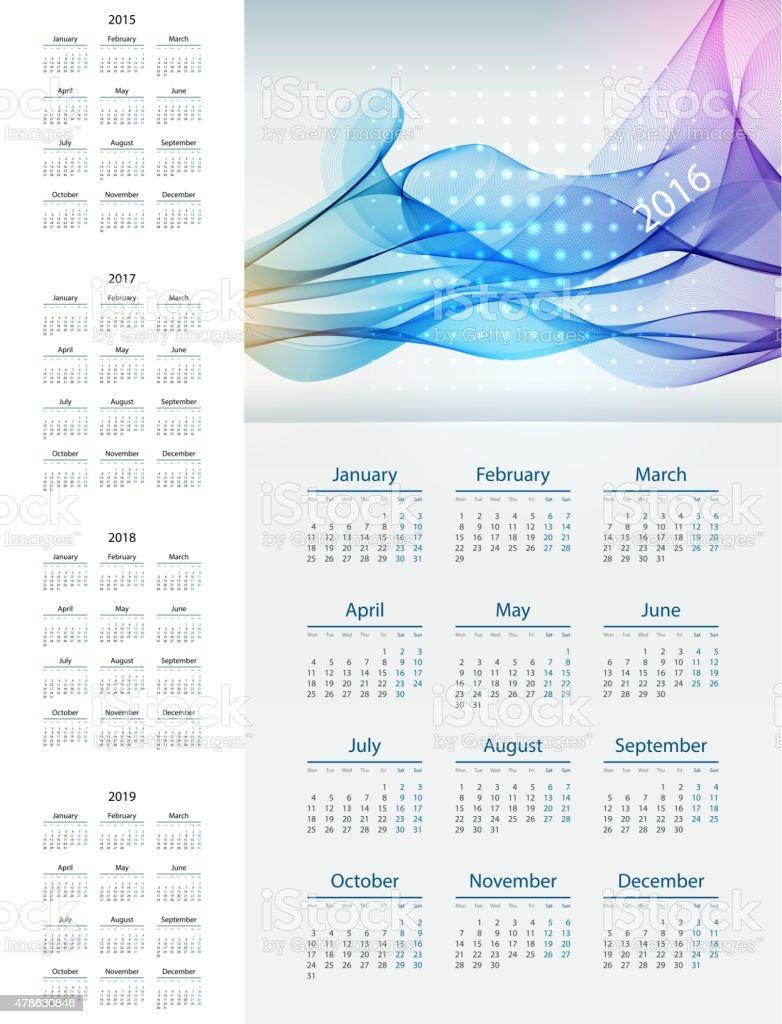 Calendario Numero Settimana 2019.Calendario 20152019 Anno Settimana A Partire Dal Lunedi