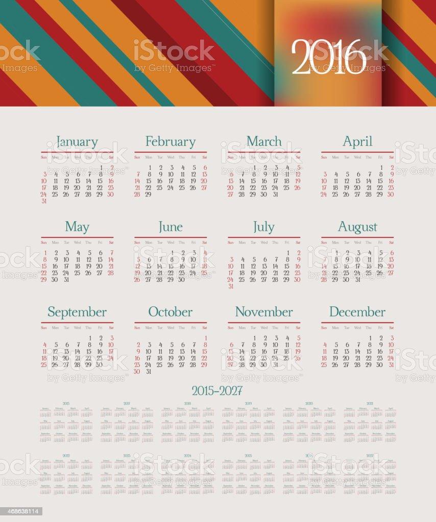 Calendario 2015- 2027 año. Semana comienza desde el domingo. Ilustración vectorial. - ilustración de arte vectorial
