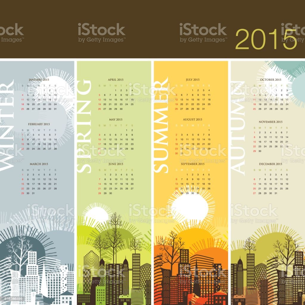 Calendar 2015 season spring summer winter autumn vector art illustration
