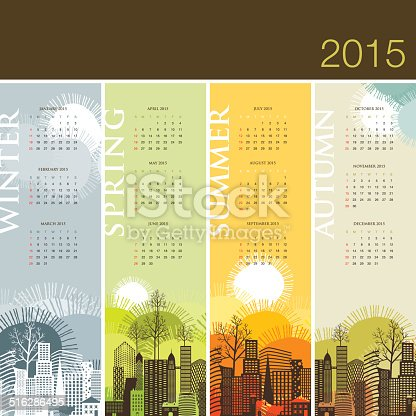 calendar 2015 season spring summer winter autumn stock