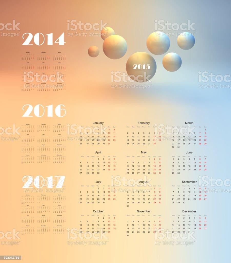 calendar 2015 royalty-free stock vector art