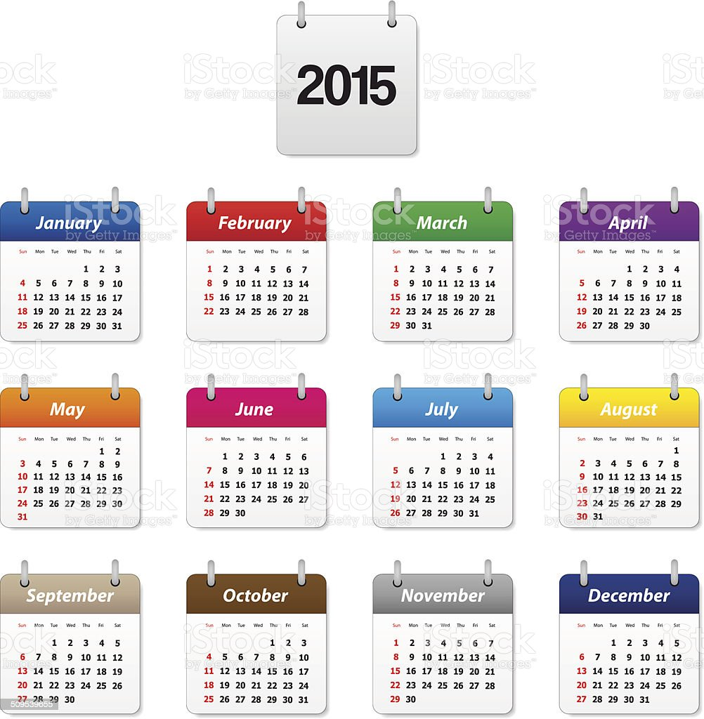Calendar 2015 vector art illustration