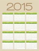 Detailed 2015 calendar. EPS 10 file. Transparency effects used on highlight elements.