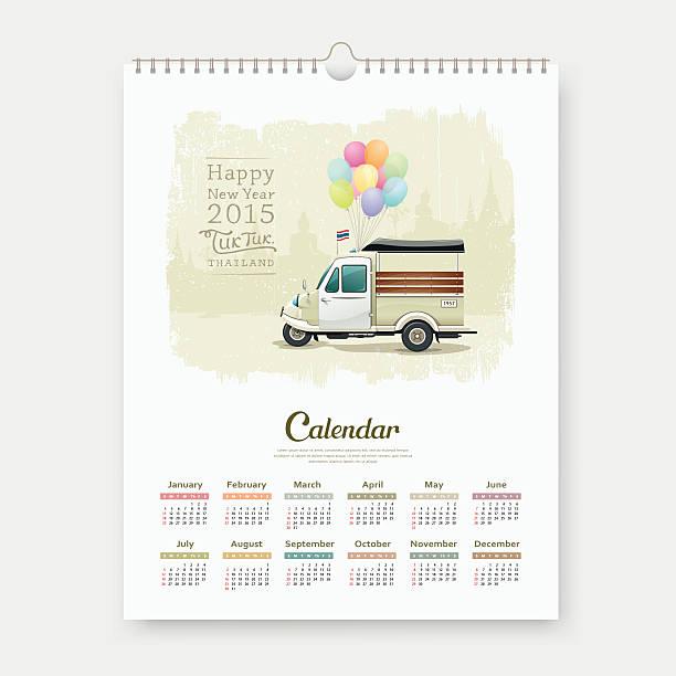 kalender 2015, vintage-motor-dreirad thailand - ayutthaya stock-grafiken, -clipart, -cartoons und -symbole