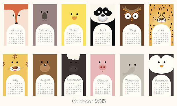 Calendrier 2015 avec les animaux-Illustration - Illustration vectorielle