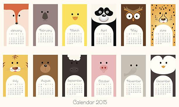ilustrações, clipart, desenhos animados e ícones de calendário de 2015 com animais-ilustração - calendário de vida selvagem