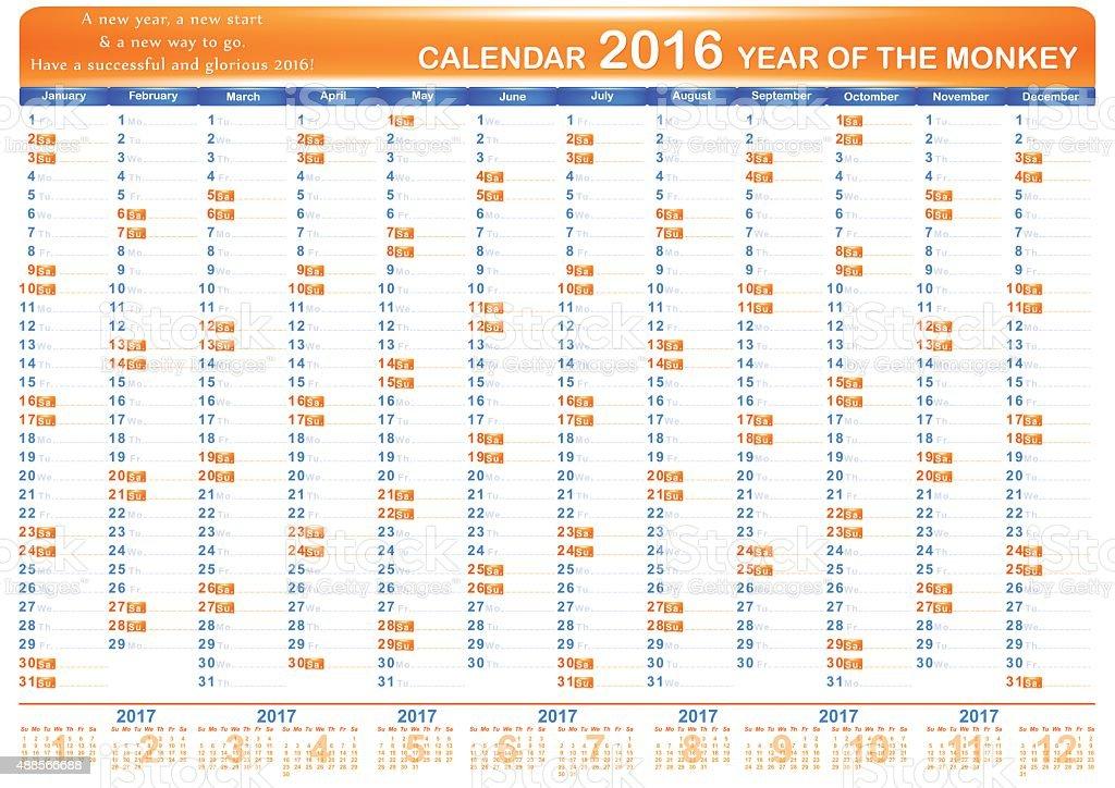 Calendar 2016 - English Organizer vector art illustration