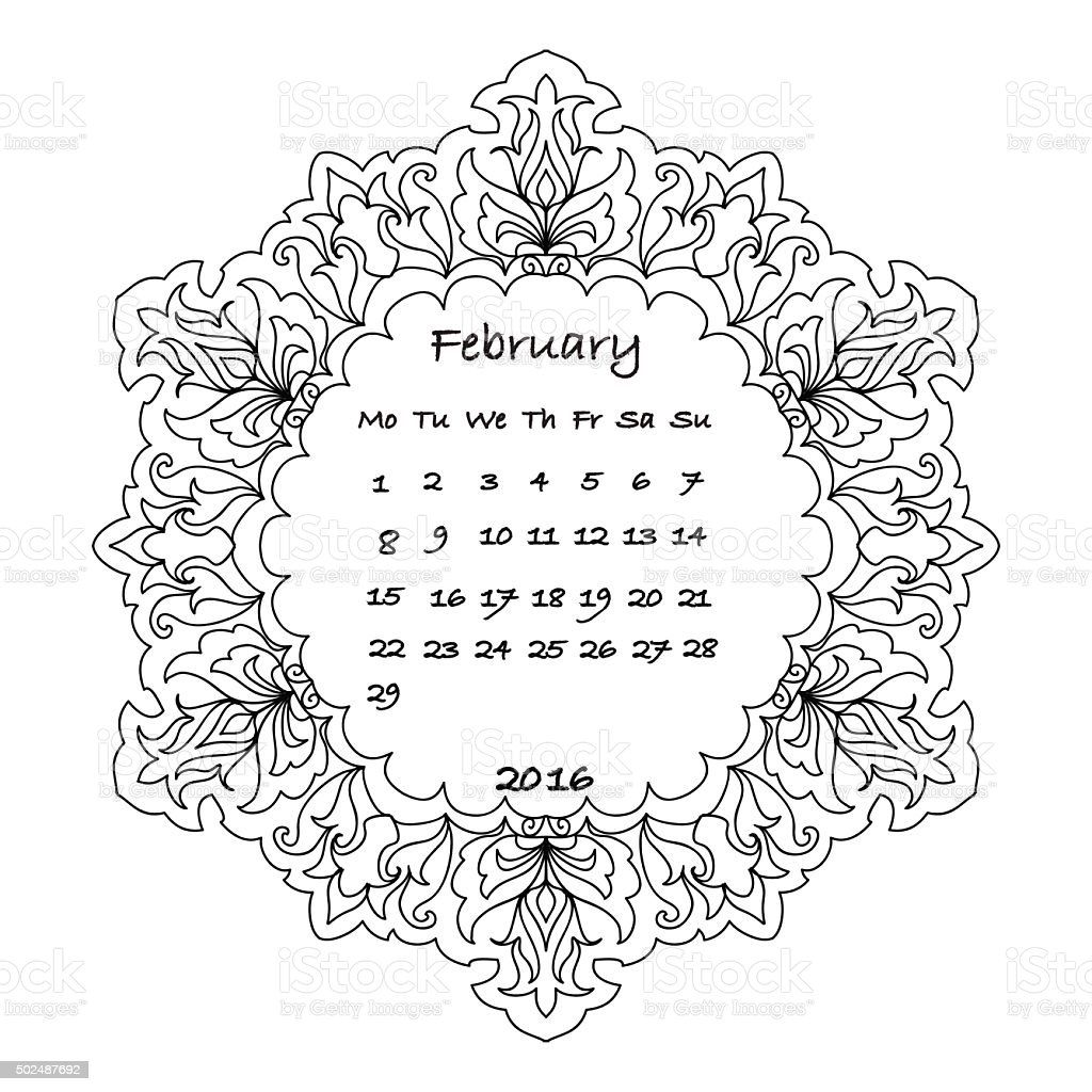 Calendar 2016 February Coloring Page Stock Vector Art & More Images ...