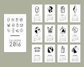 Calendar 2016. Templates with  geometric crystals.