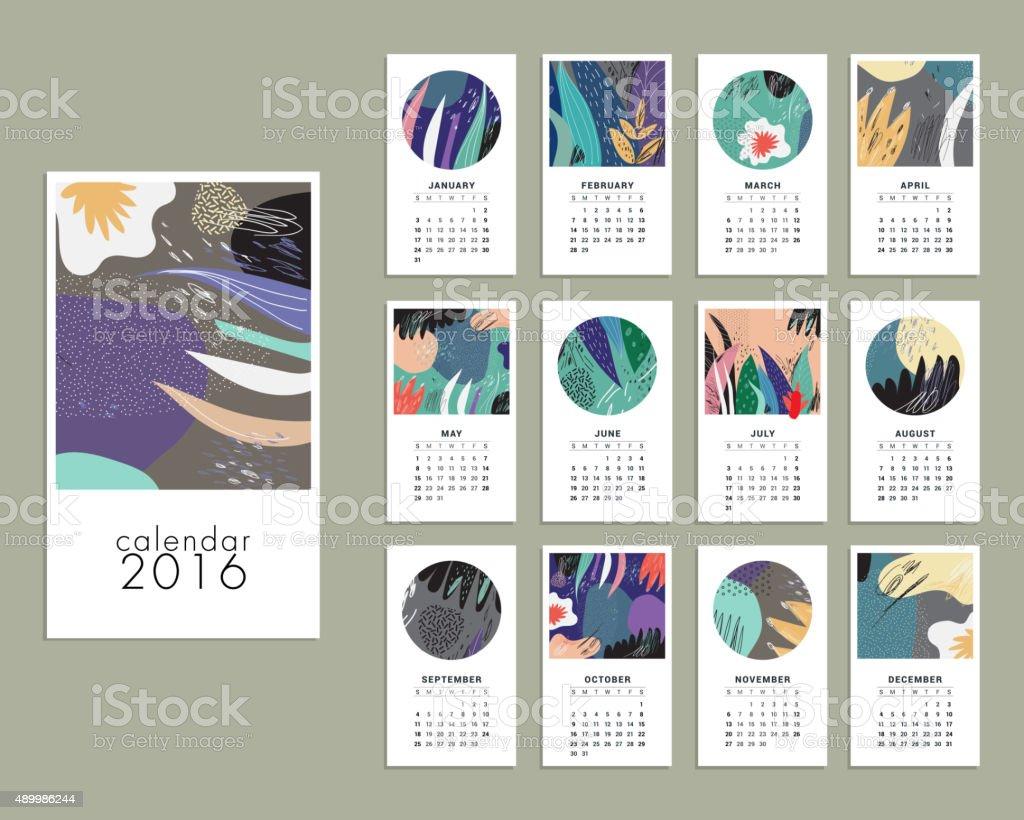 Calendario de 2016. - ilustración de arte vectorial