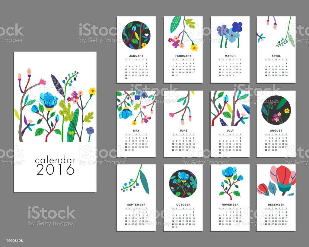 Calendario de 2016 - ilustración de arte vectorial