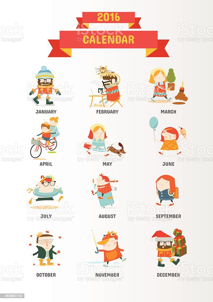 Calendar 2016 with 12 cute cartoon characters stock vector art calendar 2016 with 12 cute cartoon characters royalty free calendar 2016 with 12 cute cartoon urtaz Image collections