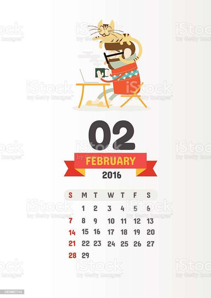 Cartoon Characters 02 : Calendar with cute cartoon characters february