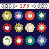 Calendar 2016 with decorative round elements