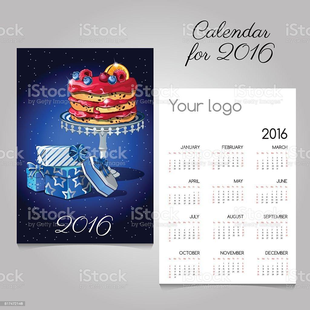Calendario de 2016 con imágenes de frutas, pasteles y tienda de regalos - ilustración de arte vectorial