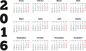 Calendar on 2016 year on Spanish language, A4 sheet size