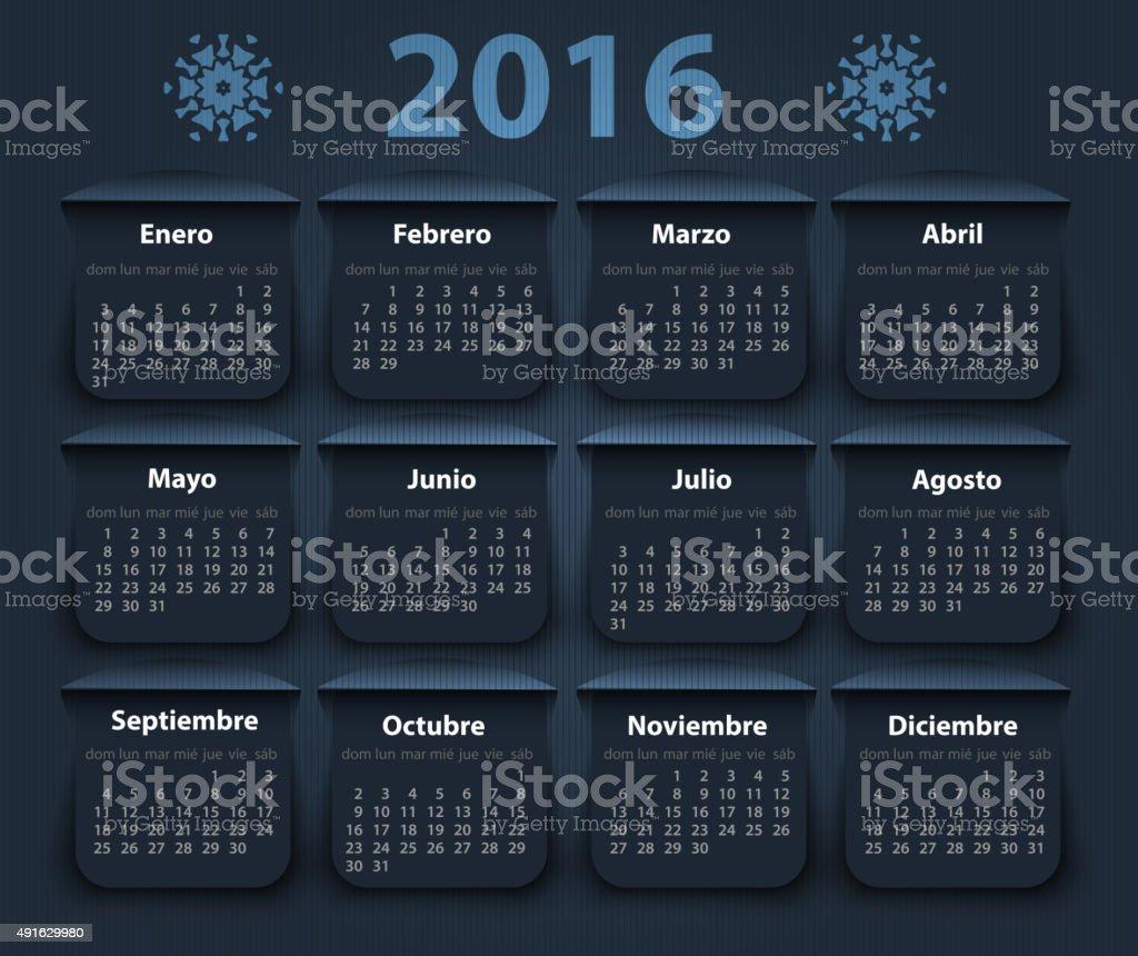 Calendario In Spagnolo.Calendario Anno 2016 Vettoriale Di Design Modello In