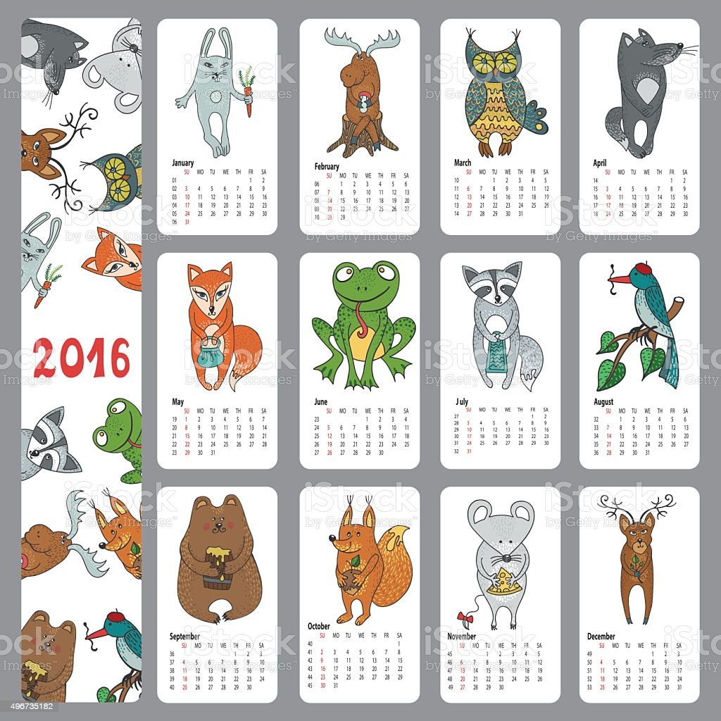 Calendar 2016.Wild animals ,Woodland doodles vector art illustration
