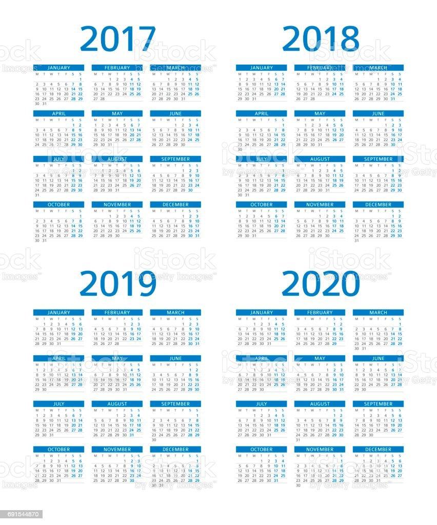 2017 2018 2019 Ford Price: Ilustración De Calendario 2017 2018 2019 2020 Lunes Al