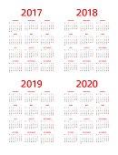 Calendar 2017 2018 2019 2020: Monday - Sunday