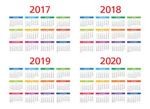 Calendar 2017 2018 2019 2020: Sunday - Monday