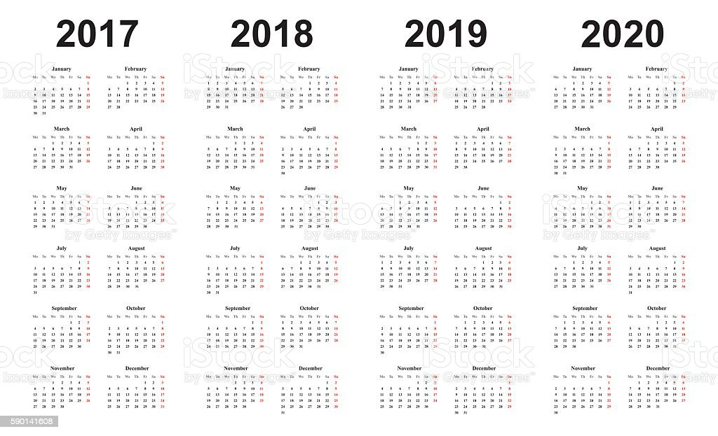 calendar 2017, 2018, 2019, 2020, simple design, sundays marked red vector art illustration
