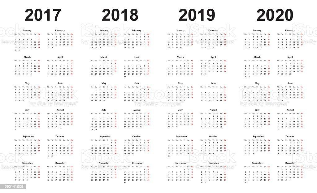 calendar 2017, 2018, 2019, 2020, simple design, sundays marked red - Illustration vectorielle