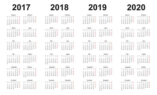 calendar 2017, 2018, 2019, 2020, simple design, sundays marked red - カレンダー点のイラスト素材/クリップアート素材/マンガ素材/アイコン素材