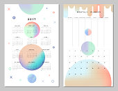Calendar 2017 and Monthly Planner. Creative space and alien style. Modern geometric shapes, design. Vector. Isolated