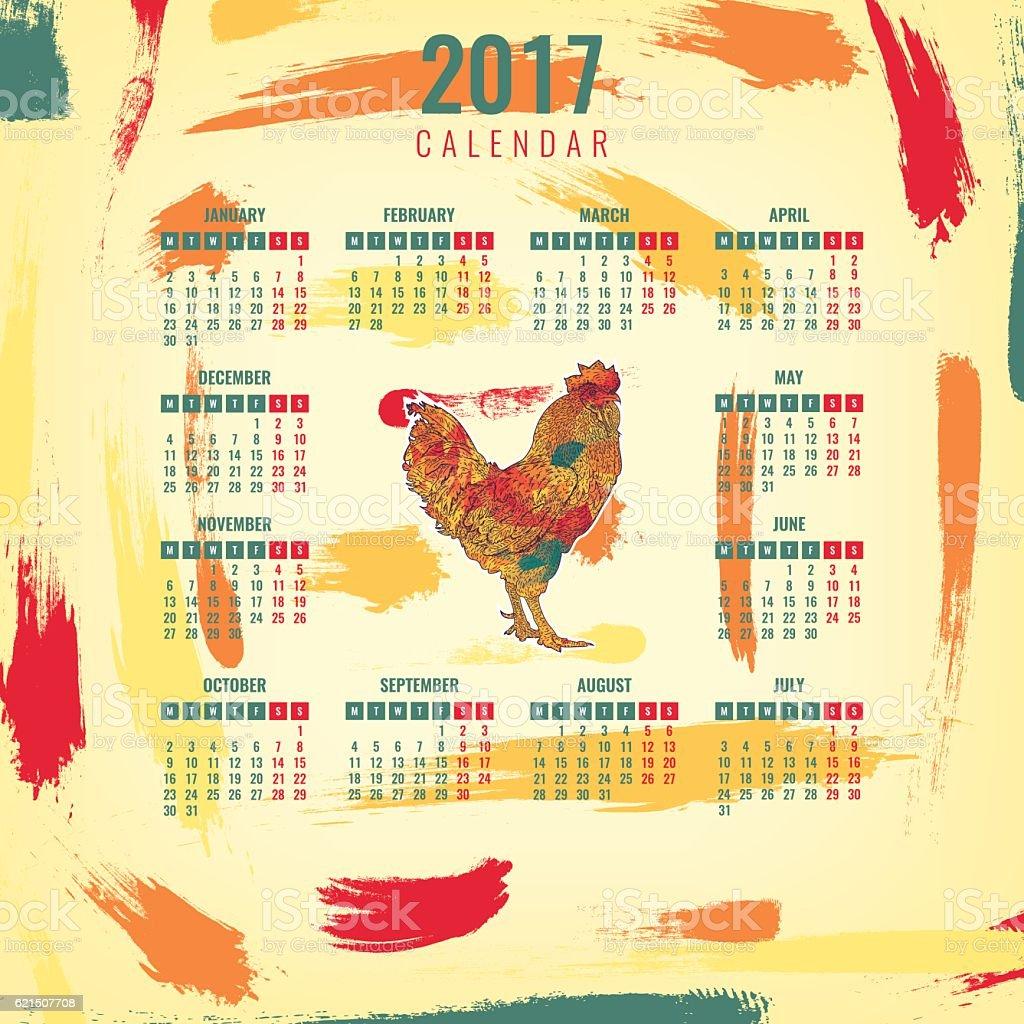 Calendar 2017 Chinese New Year of the Rooster. Vector calendar 2017 chinese new year of the rooster vector – cliparts vectoriels et plus d'images de 2017 libre de droits