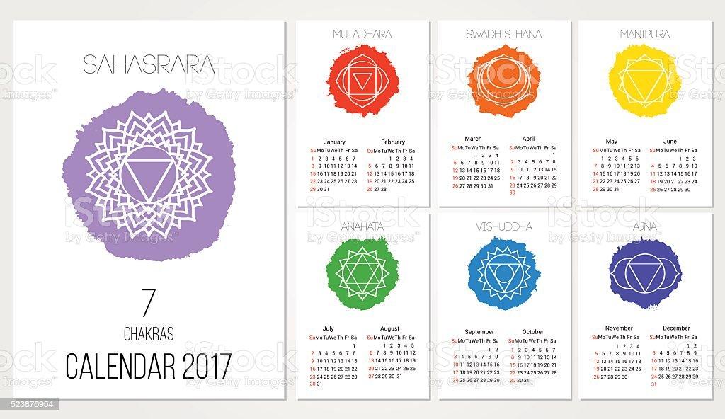 Kalender 2017 design-Vorlage mit sieben Chakren ein set von Monate – Vektorgrafik
