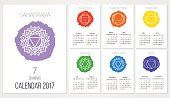 Calendar 2017 design template with 7 chakras set of months