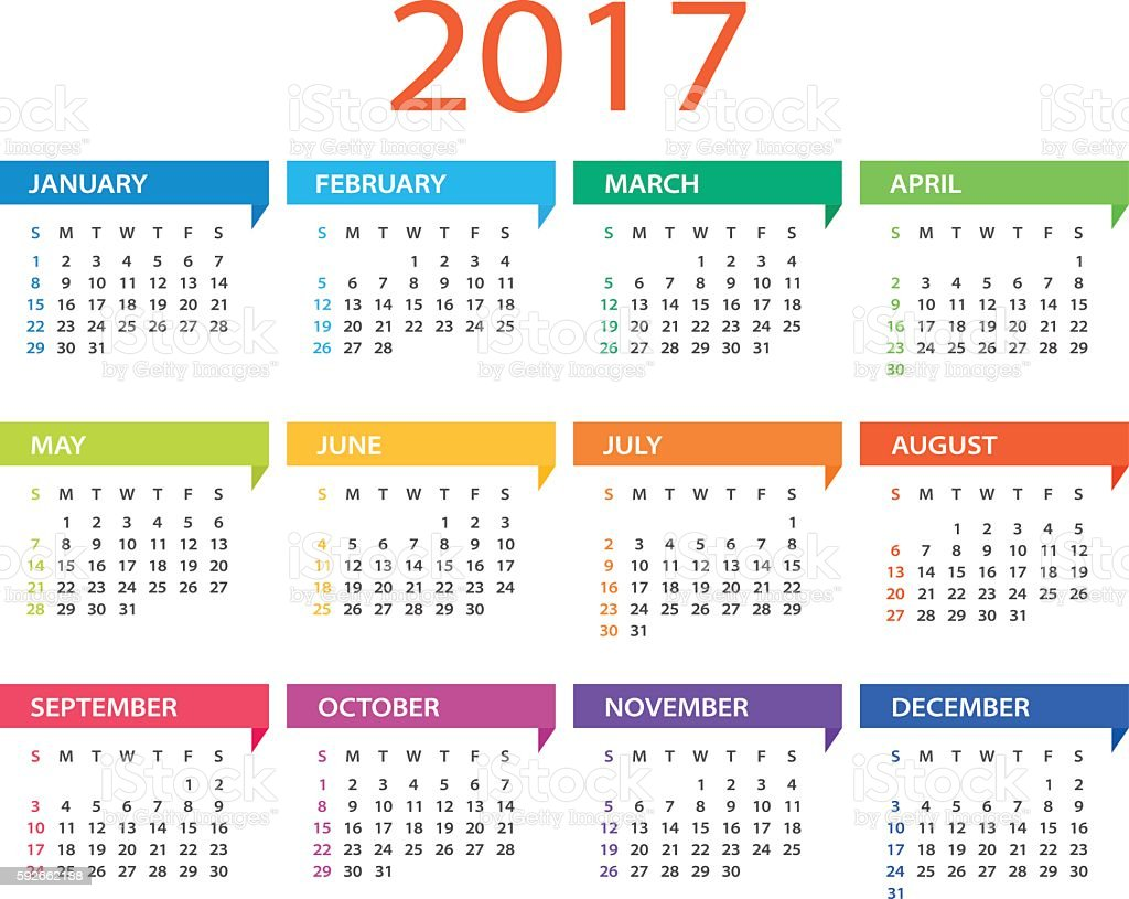 Calendar 2017 - Illustration vector art illustration