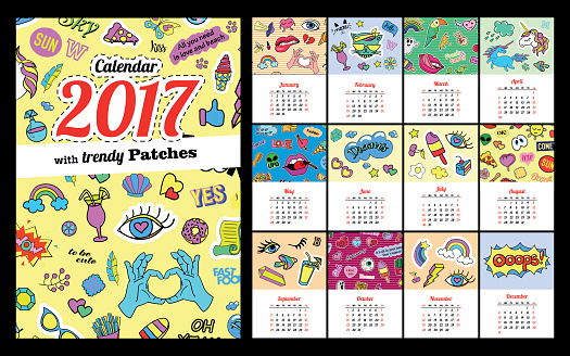 Calendar 2017 In cartoon 80s-90s comic style fashion patches