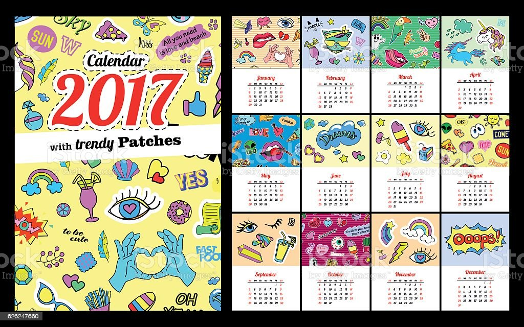 Calendar 2017 In cartoon 80s-90s comic style fashion patches - Illustration vectorielle