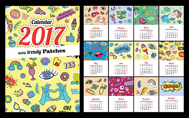 Calendar 2017 In cartoon 80s-90s comic style fashion patches vector art illustration