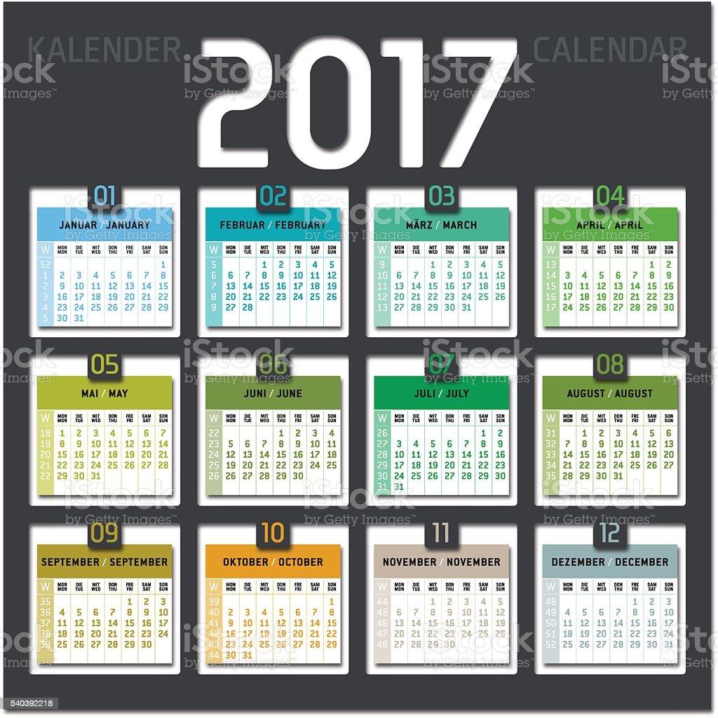 calendar 2017 including weeks vector art illustration