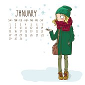 January. 2017 calendar with fashionable hipster girl in a coat, knitted hats, scarves and mittens in winter. Can be used like greeting cards.