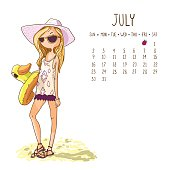 July. 2017 calendar with cute girl in a hat with a swimming circle duck. Can be used like greeting cards.