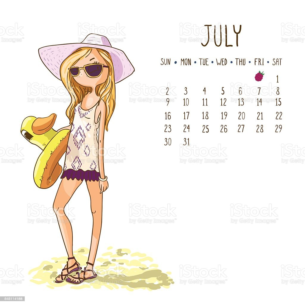 Calendar 2017, july month. Season girls design. Vector illustration vector art illustration