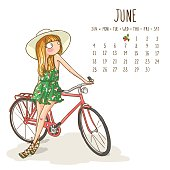 June. 2017 calendar with cute girl in a hat with bicycle at the walk. Can be used like greeting cards.